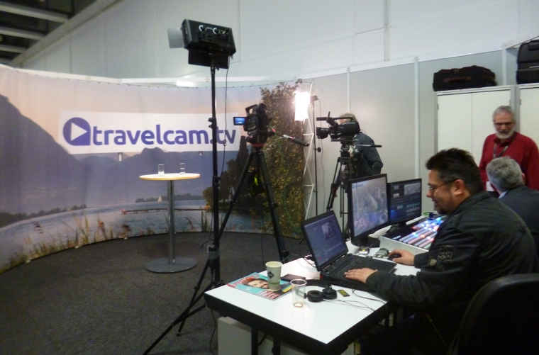 Das travelcam.tv-Studio im Pressezentrum.